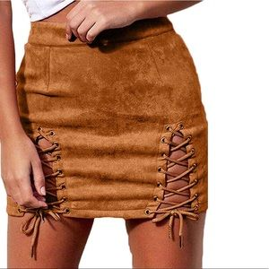 High Waist Lace Suede Mini Skirt With Split